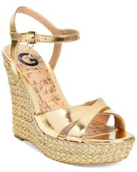 G by Guess | Debbra Metallic Espadrille Platform Wedge Sandals | Lyst