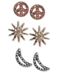 RACHEL Rachel Roy | Multicolor Tri-Tone Crystal Sun, Moon And Peace Sign Stud Earring Set | Lyst