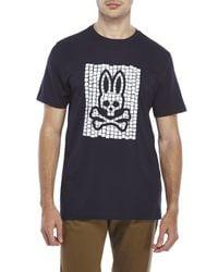 Psycho Bunny - Blue Mosaic Bunny Tee for Men - Lyst