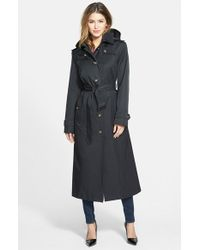 London Fog | Black Petite Women'S Hooded Long Single Breasted Trench Coat | Lyst