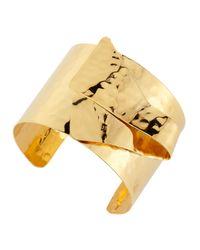 Devon Leigh - Metallic 18-k Gold-plated Hammered Cuff - Lyst
