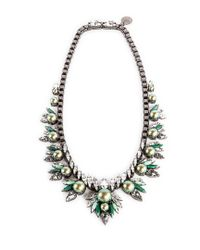 Ellen Conde | Iridescent Green Pearl And Crystal Sr1 Necklace | Lyst