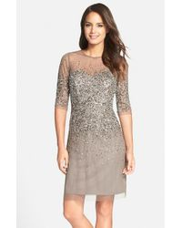 Adrianna Papell | Gray Sequinned Sheath Dress | Lyst