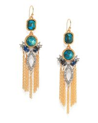 Alexis Bittar - Blue Elements Gilded Muse D'Ore Chrysocolla & Crystal Spiked Tassle Chandelier Earrings - Lyst