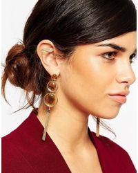 ASOS - Brown Tigers Eye 70s Tassel Earrings - Lyst