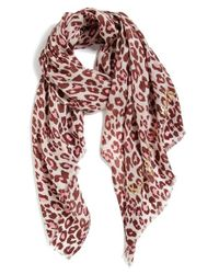 kate spade new york | Red Cheetah Print Wool Scarf | Lyst