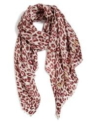 kate spade new york | Pink Cheetah Print Wool Scarf | Lyst