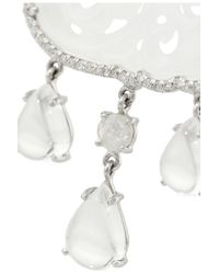 Nina Runsdorf - 18karat White Gold Jade Diamond and Moonstone Earrings - Lyst