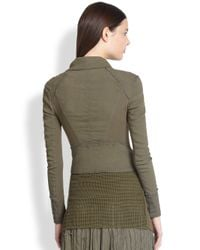 Donna Karan - Green Mixed-Media Jacket - Lyst
