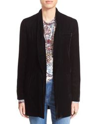 Free People - Purple Oversized Velvet Blazer - Lyst