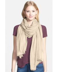 Halogen | Natural Cashmere Twill Wrap | Lyst