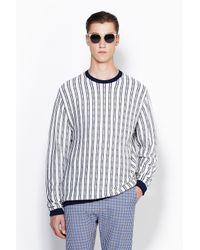 3.1 Phillip Lim - Black Long Sleeve Crewneck Pullover With Tonal Plaid Stripes for Men - Lyst
