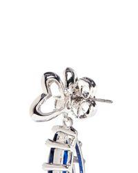 CZ by Kenneth Jay Lane | Blue Pavé Bow Stud Pear Cut Cubic Zirconia Earrings | Lyst