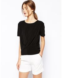 ASOS - Black Top In Crepe With Pleat Detail - Lyst