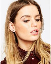ASOS - Black Sterling Silver Festival Stud Earrings - Lyst