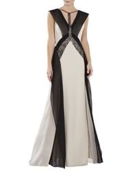 BCBGMAXAZRIA | Gray Jenelle Color-blocked Lace Contrast Gown | Lyst