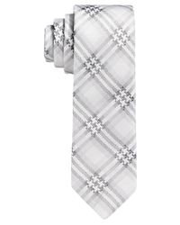 BOSS - Gray Boss Black And White Stitch Plaid Skinny Tie for Men - Lyst