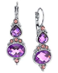 2028 | Purple Faceted Stone Drop Earrings | Lyst