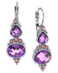 2028 - Purple Faceted Stone Drop Earrings - Lyst