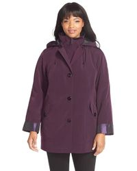 Gallery | Purple Bibbed Silk Look Raincoat | Lyst
