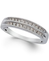 Macy's | Metallic Diamond Two-row Milgrain Band (1/5 Ct. T.w.) In 10k White Gold | Lyst