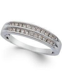 Macy's - Metallic Diamond Two-row Milgrain Band (1/5 Ct. T.w.) In 10k White Gold - Lyst