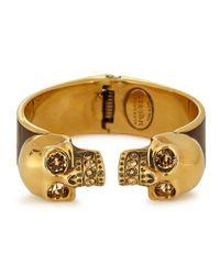 Alexander McQueen   Brown Sado Gold Tone Twin Skull Bracelet   Lyst