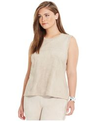 Calvin Klein - Natural Plus Size Faux-suede Sleeveless Shell - Lyst