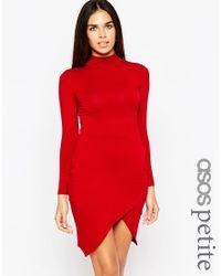 ASOS - Black Asymmetric Polo Bodycon Dress - Lyst