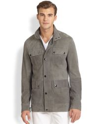 Michael Kors | Gray Suede Utility Jacket for Men | Lyst