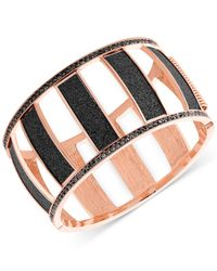 Guess | Rose Gold-tone Black Stone Cut-out Bracelet | Lyst