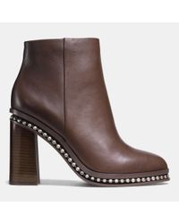COACH | Brown Justina Beaded Leather Boots | Lyst