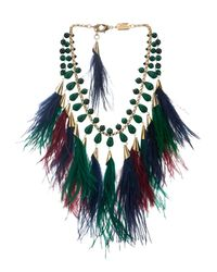 Rosantica By Michela Panero - Green Faggio Quartz And Feather Necklace - Lyst