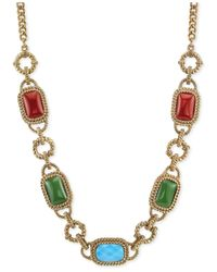 2028 - Metallic Gold-Tone Multi-Color Stone Frontal Necklace - Lyst