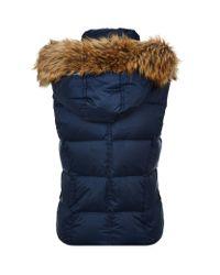 Juicy Couture Blue Fur Trim Puffer Gilet