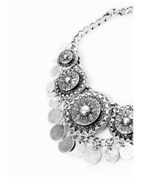 Mango - Metallic Metal Pendants Necklace - Lyst