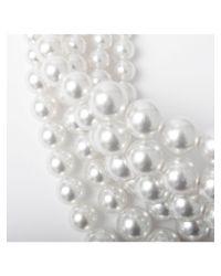 Fallon - White Layered Swarovski Choker Crystal Pearl - Lyst