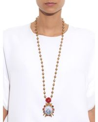 Dolce & Gabbana - Metallic Embellished Necklace - Lyst
