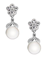 Nadri | Metallic Sparkling Pearl Semi-drop Earrings | Lyst