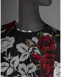 Dolce & Gabbana - Black Long Dress In Printed Chiffon With Satin Belt - Lyst