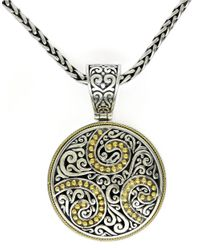 Effy | Metallic Balissima Sterling Silver And 18 Kt. Yellow Gold Filigree Circle Pendant | Lyst