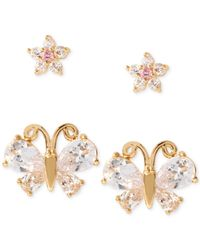 Betsey Johnson | Metallic Gold-tone Flower And Butterfly Stud Earring Set | Lyst