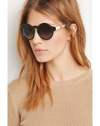 Forever 21 - Black Metal Temple Round Sunglasses - Lyst