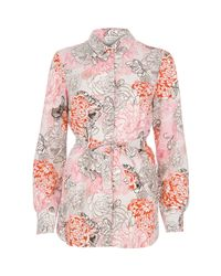 River Island | Multicolor Pink Print Belted Shirt | Lyst