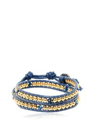 Colana | Blue Leather Wrap Bracelet With Swarovski | Lyst