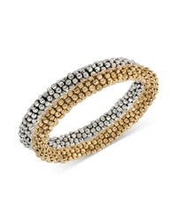 Kenneth Cole | Metallic Silvertone Goldtone Seed Bead Bracelet Set 2 | Lyst