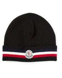 Moncler - Black Ribbed Beanie for Men - Lyst