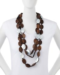 Viktoria Hayman | Brown Tiger Wood & Mother-of-pearl Triple Strand Necklace | Lyst