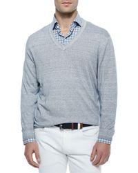 Ermenegildo Zegna - Blue Garment-dyed V-neck Sweater for Men - Lyst