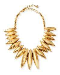 Oscar de la Renta | Metallic Golden Ridged Disc Necklace | Lyst